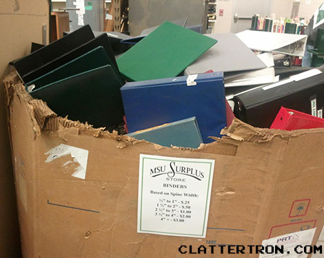 Binders not full of women at MSU Surplus in East Lansing, Michigan.