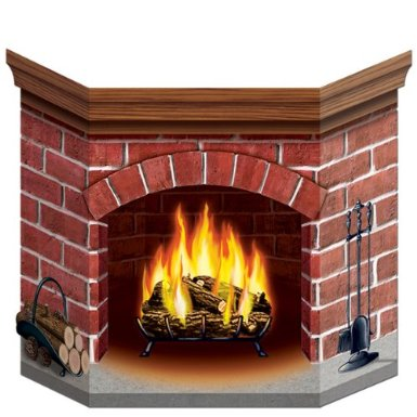 cardboard fireplace christmas decoration on Amazon.