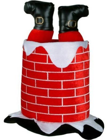 santa in a chimney christmas tree hat on amazon.com