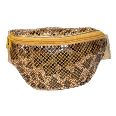 gold sequin animal print fanny pack