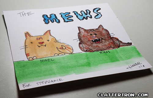 cat watercolor cartoon